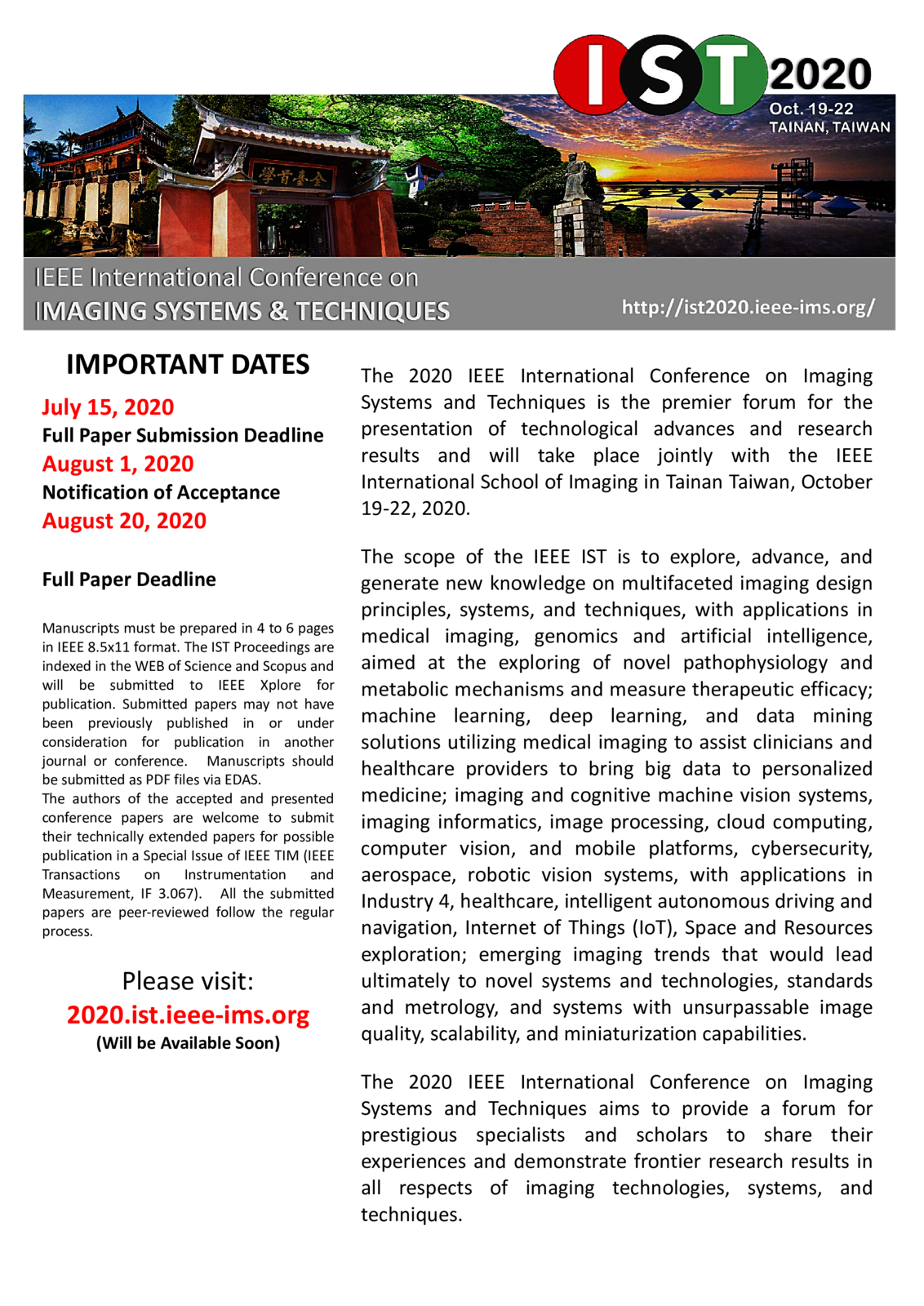 IST 2020 Call For Papers | IST 2019